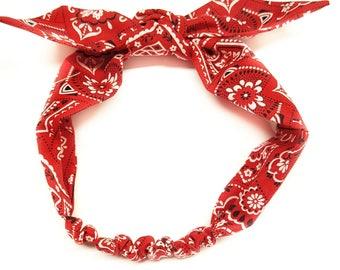 Red Bandana,red bandana headwrap,bandana Head wrap,girls bandana headwrap,Baby Bandana Headband,Rockabilly Headband,Pinup Headband