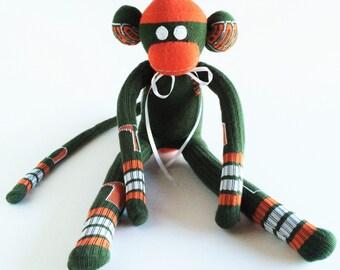 University of Miami -  Sock Monkey - Miami Hurricanes Sock Monkey - Green Sock Monkey - Hurricanes Monkey - Florida Sock Monkey - Florida