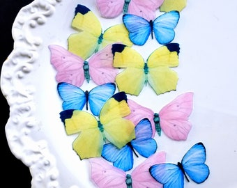 Edible Pastel Pink, Yellow and Blue Butterflies Cake/Cupcake Toppers, Set of 12