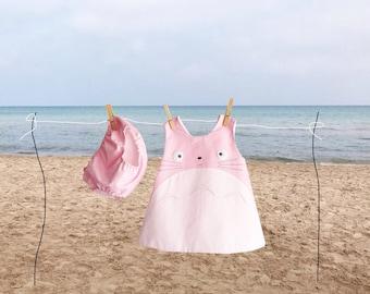 pink totoro dress, totoro baby clothing, studio ghibli , pink totoro dress and diaper cover, kawaii clothing, totoro dress NB up 18 months,