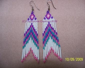 Native American beaded earrings Pink Purple White Turq