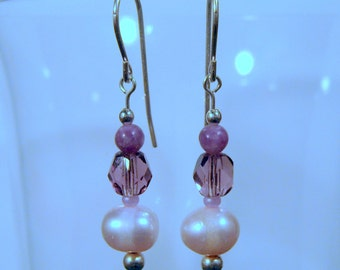 Freshwater Pearl and Lepidolite Dangle Earrings