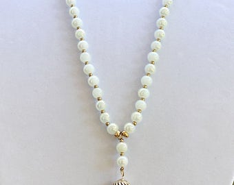 White and Gold Glass Beads Tassel Long Necklace / White Gold Tassel Long Necklace.