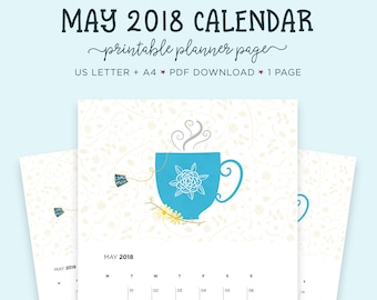 May 2018 Wall Calendar, Tea Lovers, A4 Calendar, May Printable, US Letter Calendar, Printable Calendar, Gift for Her, Month Wall Calendar