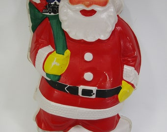 "Vintage NOMA blow mold lighted hanging wall Santa Claus 19"" retro in original box christmas"
