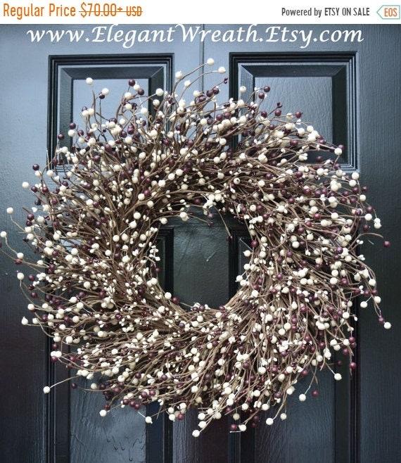 SPRING WREATH SALE Door Wreath, Holiday Berry Wreath, Burgundy Cream Christmas Wreath, Cottage Chic Decor, Primitive Wreath, Rustic Decor, C