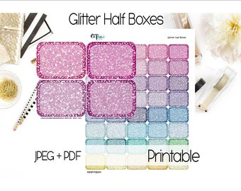 Glitter Half Boxes // Printable Planner Stickers