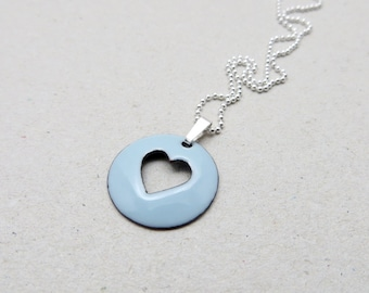 Light Blue Heart Necklace - Enamel Pendant on Delicate Sterling Silver Chain - Love Gift for Girlfriend