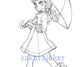 Manga Style Umbrella Girl Printable Coloring Page - PDF Instant Download