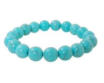 FREE GIFT with PURCHASE - Turquoise bracelet 10mm Round Beads Turquoise natural stone bracelet Persian Healing Bracelet, Meditation bracelet
