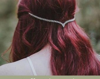 Crystal Rhinestone Hair Jewelry,  Hair Chain Accessory, Minimalist Head Chain, Silver Hair Accessory, Hippie Wedding Head Piece.