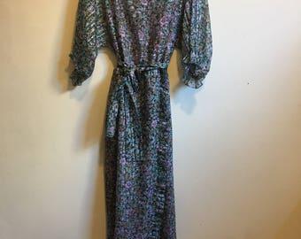 70s Ruffled Dress // Vintage Mignon Paris New York Sheer Lavender Floral Chiffon Dress with Dolman Sleeves // Small to Medium