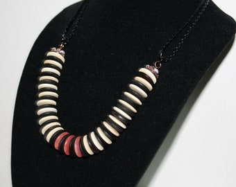 "Wood and Stone Necklace - ""Zebra"""