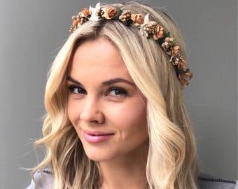 Brown flower crown wedding hair wreath wedding headband Bridal halo Bridesmaid floral crown wedding maternity crown bridal flower crown