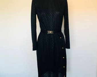 Vintage Alfred Weber Sheath Semi Shear Belted Black Swiss Dot Dress MOD New Wave Small