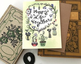 Happy Life Together Card - New Home Card, Wedding Card, Congrats new house Card, new apartment, Greeting Card, paper goods