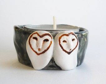 Barn Owls Candle Holder Black and White