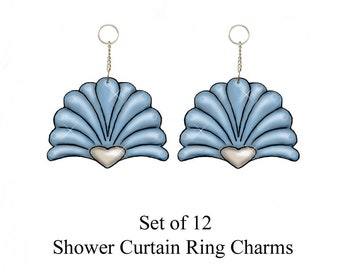 Decorative Shower Curtain Ring Charms...Printed Shells...Set of 12