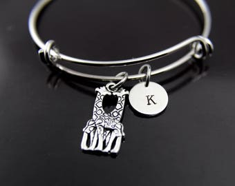 Silver Giraffe Charm Bracelet Silver Giraffe Charm Bangle Giraffe Jewelry Expandable Bangle Personalized Bangle Initial Charm Initial Bangle