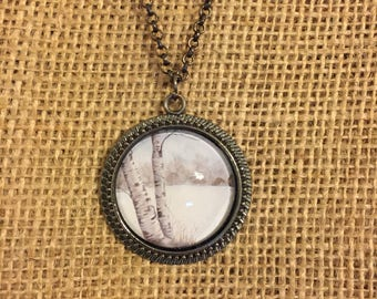 Snowy Birch Trees Necklace - Wearable Art