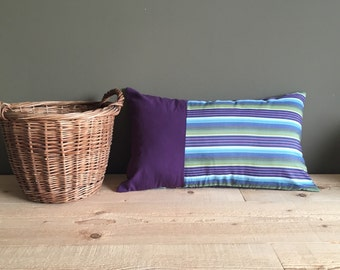 purple, blue and greenlumbar pillow - cushion cover - repurposed patchwork - bedroom decor 12x20 inches - lumbar pillow