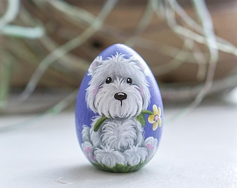 Puppy, handpainted puppy, Hand painted Wood Egg, Easter Egg, puppy gift