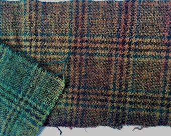 Green Blue Rust Plaid Dyed Wiil fir Rug Hooking and Applique