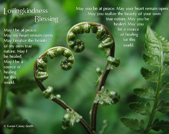 Lovingkindness Blessing, Metta, Metta Prayer, Loving Kindness, Blessing Art, Heart, Love, From the Heart, Fern Photo