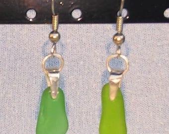 Sea Glass Earrings; Green Sea Glass Dangle Earrings with Silver Findings