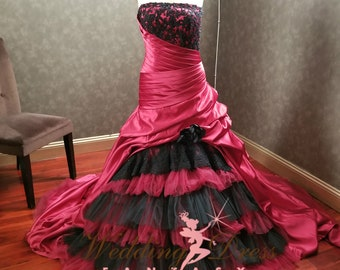 Burgundy and Black Wedding Dress with Satin and Tulle Layers