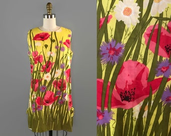 1960s Poppy Print Mini Dress / 60s Yellow Flower Garden Screen Print Dress / Vintage Tunic Dress