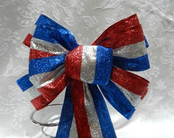Red, White and Blue  glittered Layered Patriotic  bow