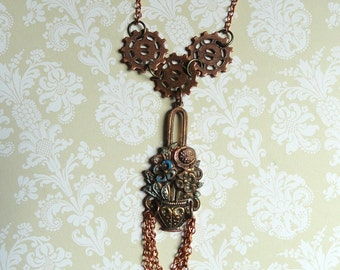 Steampunk Victorian Jewelry, Gear Necklace, Steampunk Jewelry, Gear Jewelry