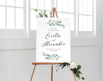 Printable Wedding Welcome Sign, Green Leaves Welcome Sign, Simple Modern Wedding Welcome Sign