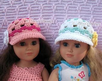 """Crochet Pattern 131 - Crochet Hat Pattern for 18 inch Doll - Crochet Doll Hat Patterns American Doll Doll's Outfit 18"""" Doll Crochet Hat"""