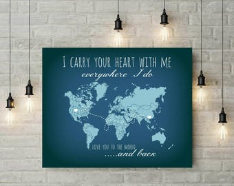 Personalized Wedding Gift | Wedding Signature Map | World Map Art | Guest Book Map | Gift For Couple | Push Pin Map | Canvas Art - 49077