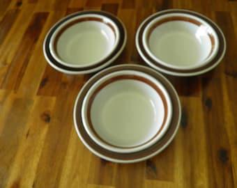 "Arabia Finland Rosemarin Anemone Pattern Bowls, 1970s Ulla Procope Design, 7"" Dia. x 1-1/2"" D-- GREAT Condition"