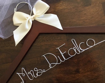 Bridesmaid Dress Hanger, Wedding Hanger, Bridal Hanger, Dress Hanger Wire, Personalized Custom Wedding Hanger, Mrs Hanger, Mrs Name Hanger