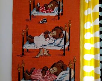 Retro Vintage 60s Linen Kids Teddy Bears Wall Hanging Art