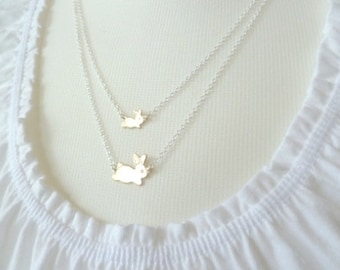 Bunny rabbit necklace - sweet mom and little baby brass bunnies on double layer .925 sterling silver chain, mixed metals  - Hare Family