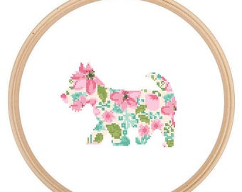 Scottish Terrier  Silhouette Cross Stitch Pattern Floral Water color effect Pet animal wall art Scottie Terrier Dog cross stitch modern gift