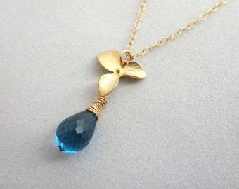London Blue Topaz Gold Flower Necklace