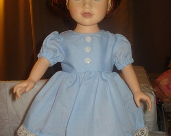 18 inch Doll full skirt dress in lite blue with lace - ag42