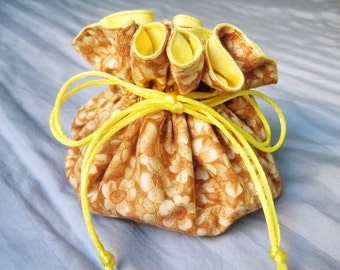 Light Yellow and Brown Travel Jewelry Bag, Flower Pattern Jewelry Pouch, Drawstring Bag For Her, Teacher Gift