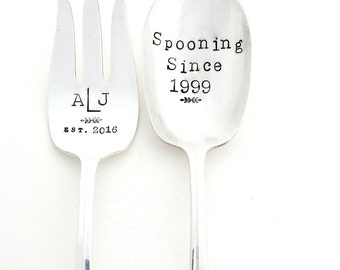 CUSTOM Serving Fork and Spoon Set. Hand Stamped Vintage Silverware. Sycamore Hill,  The ORIGINAL. Made to Order, Choose font, silver pattern