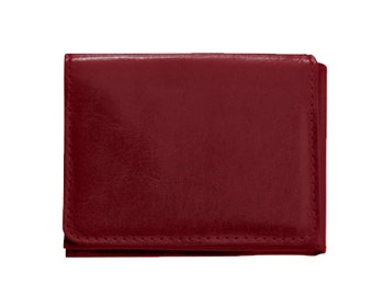 Burgundy leather wallet, men's red wallet, burgundy trifold wallet - the Casino