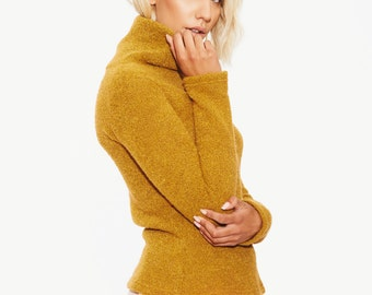 Wool Sweater, Women Sweater, Light Sweater, Fancy Sweater, Cool Sweater, Oversized Sweater, Mustard Sweater,Turtleneck Sweater,Fuzzy Sweater