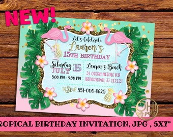 TROPICAL INVITATION, tropical party,pool party,pool birthday invitation, tropical birthday,summer invitation,summer invite, tropical invite