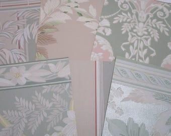 Vintage Wallpaper Bundles-Antique-Florals-Pastels-Shabby-SO YUMMY-Paper Parcels-Ephemera