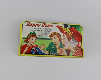 TRAVELING NEEDLE BOOK, Vintage needle book, Happy Home Rust Proof Needle Book, sewing supplies, craft supplies, gift for her, vintage sewing